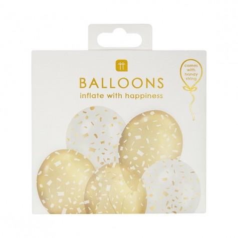 Palloncini fantasia coriandoli dorati