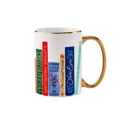 Tazza mug con fantasia libri e manico dorato