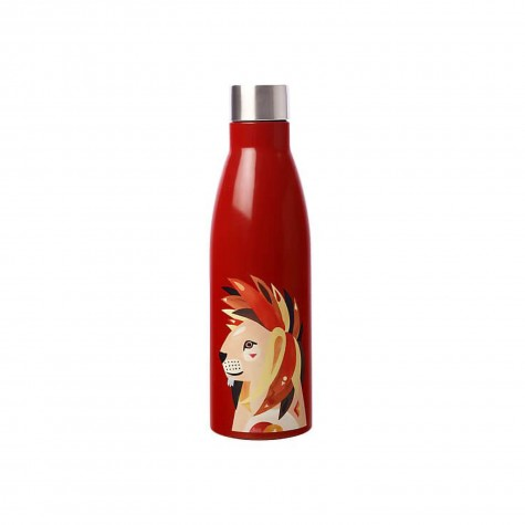 Borraccia in acciaio inox rossa fantasia leone