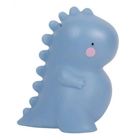 Salvadanaio bimbo a forma di T-Rex azzurro