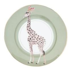 Piattino da dolce in porcellana con fantasia giraffa