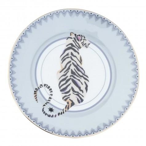 Piattino da dolce in porcellana con fantasia tigre bianca