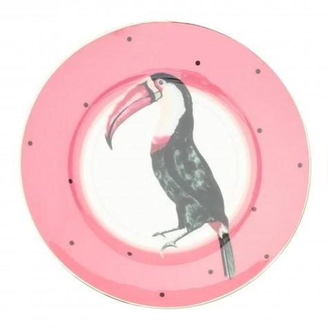 Piattino da dolce in porcellana con fantasia tucano