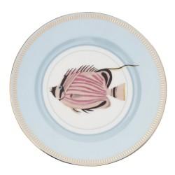 Piatto frutta in porcellana con fantasia pesciolino rosa