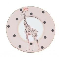 Piatto piano in porcellana con fantasia giraffa
