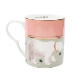 Mug in porcellana bicolor con fantasia orso polare