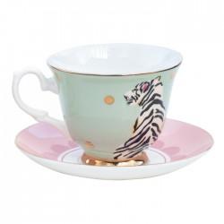 Servizio da tè in porcellana fantasia tigre bianca
