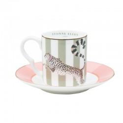 Servizio da caffè in porcellana fantasia a righe con ghepardo