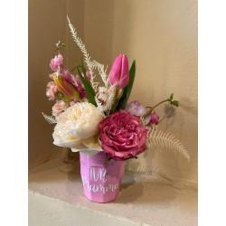Bicchiere rosa Festa della Mamma con fiori Olivia Brusca