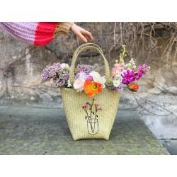 Borsa da spiaggia con bouquet di fiori Olivia Brusca