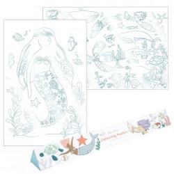 Poster olografico da colorare fantasia sirene