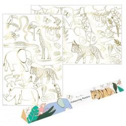 Poster olografico da colorare fantasia giungla