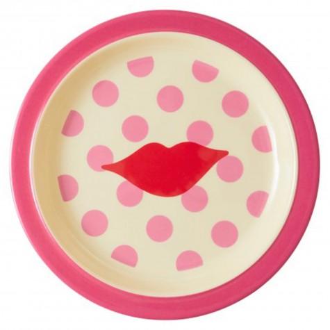 Piatto piano bimba fantasia a pois rosa con bacio