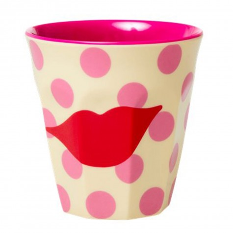 Bicchiere in melamina fantasia a pois rosa con bacio