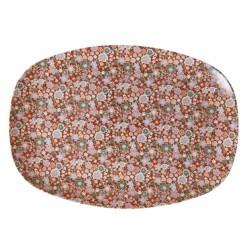 Piatto ovale fantasia fiorellini autunnali