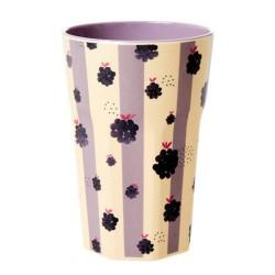 Bicchierone latte in melamina fantasia a righe con more