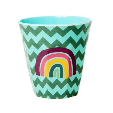 Bicchiere in melamina fantasia arcobaleno e zig-zag