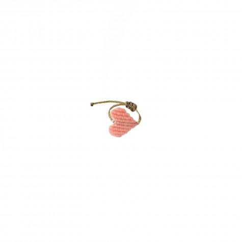 Anellino dorato con cuoricino rosa