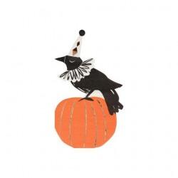 Tovaglioli di Halloween a forma di corvo su zucca