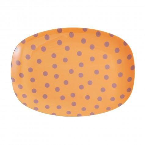 Piatto da dessert arancione fantasia a pois lilla