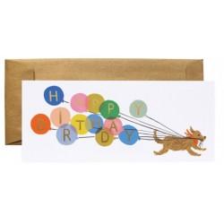 Biglietto di auguri con cagnolino e palloncini Happy Birthday