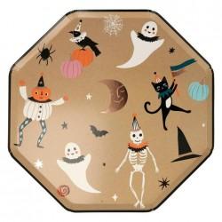 Piatti di Halloween dorati con icone a tema