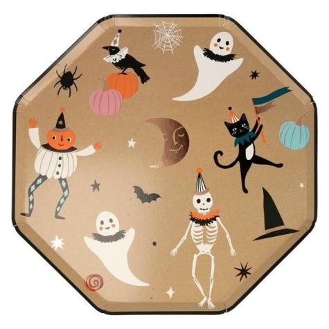 Piatti di Halloween dorati con icone...