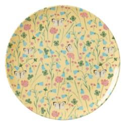 Piattino da dessert in melamina gialla con fantasia fiori e