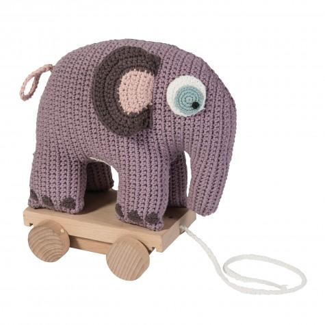 Elefante all'uncinetto con ruote