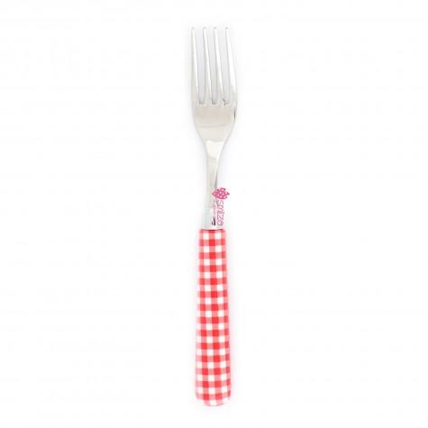 Forchetta da tavola a quadri - rossa