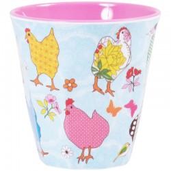 Bicchiere in melamina con fantasia galline