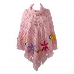 Poncho in lana rosa