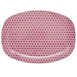 Piatto ovale melamina - stelline rosse