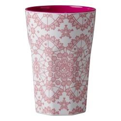 Bicchierone latte - fantasia merletto corallo