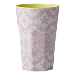 Bicchierone latte - fantasia merletto rosa