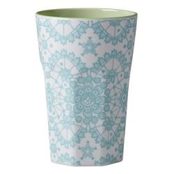 Bicchierone latte - fantasia merletto azzurro
