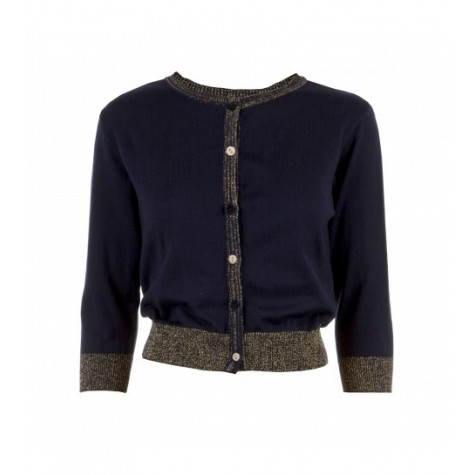 Women's Classic Cotton Cardigan in Sparkly Navy
