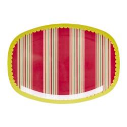 Piatto ovale in melamina - fantasia a righe