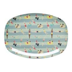 Piatto ovale in melamina - fantasia nuotatori