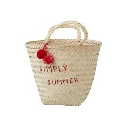 Beach bag with bordeaux pompons
