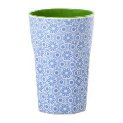 Bicchierone latte fantasia - bianco e azzurro
