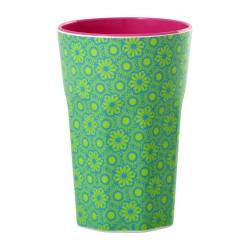 Bicchierone latte fantasia - verde e turchese
