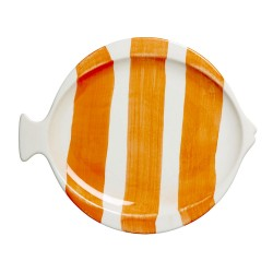 Coral striped lunch plate