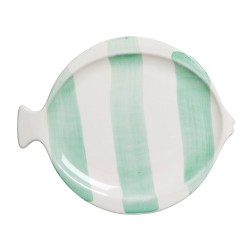 Green striped lunch plate