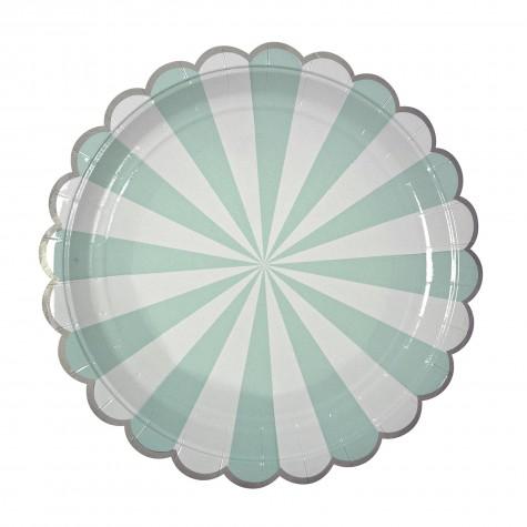 Piatti di carta a righe verde acqua