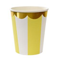 Bicchieri di carta a righe con smerlo dorato