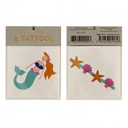 Tatuaggi temporanei, sirenetta e conchiglie