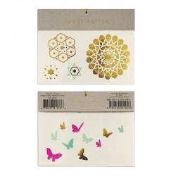Tatuaggi temporanei, farfalle e motivi geometrici