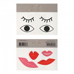 Tatuaggi temporanei, occhi e labbra