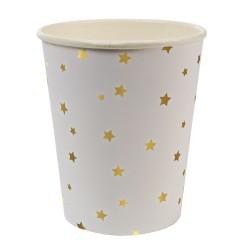 Bicchieri di carta con stelline dorate
